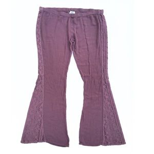 O'Neill Mauve Purple Crochet Wide Leg Pants Medium